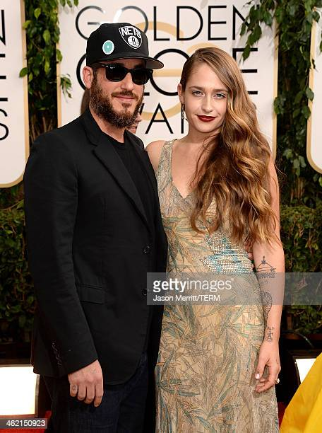 Michael Mosberg and actress Jemima Kirke attend the 71st Annual Golden Globe Awards held at The Beverly Hilton Hotel on January 12 2014 in Beverly...