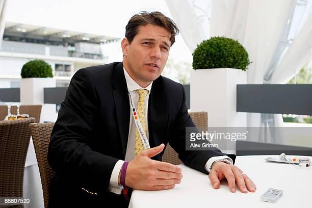 Michael Mronz General Manager of the Aachener Reitturnier GmbH gestures during an interview with 'Der Spiegel' author Maik Grossekathöfer during the...
