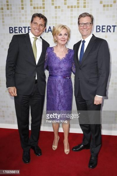 Michael Mronz Liz Mohn and Guido Westerwelle attend the Bertelsmann Summer Party at the Bertelsmann representative office on June 6 2013 in Berlin...