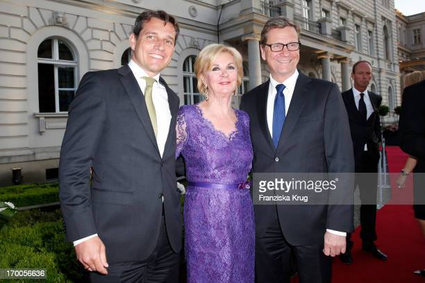 Michael Mronz Liz Mohn and Guido Westerwelle attend the Bertelsmann Summer Party at the Bertelsmann representative office on June 6 2013 in Berlin...
