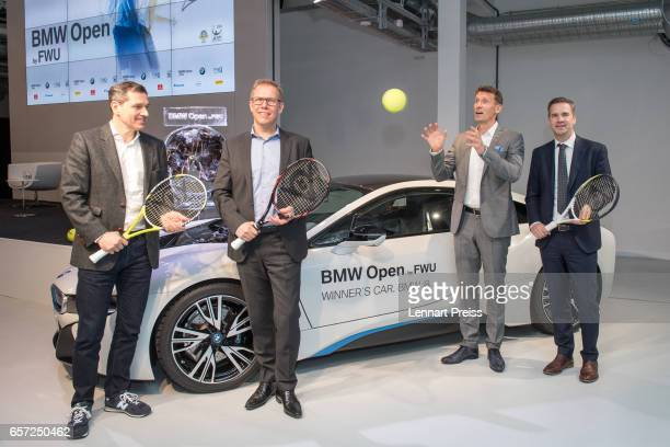 Michael Mronz promoter of the BMW Open tennis tournament Stefan Kunowski board member of FWU AG Friedrich Ebel head of sports marketing at BMW AG and...