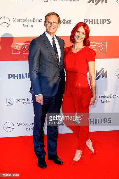 Michael Mueller mayor of Berlin and Miss IFA attend the IFA 2016 opening gala on September 1 2016 in Berlin Germany