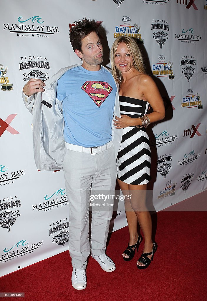 Michael Muhney and <a gi-track='captionPersonalityLinkClicked' href=/galleries/search?phrase=Sharon+Case&family=editorial&specificpeople=215357 ng-click='$event.stopPropagation()'>Sharon Case</a> arrive to the 2010 Daytime Emmy Awards Official Pre-Party held at miX Lounge - THEhotel at Mandalay Bay on June 26, 2010 in Las Vegas, Nevada.