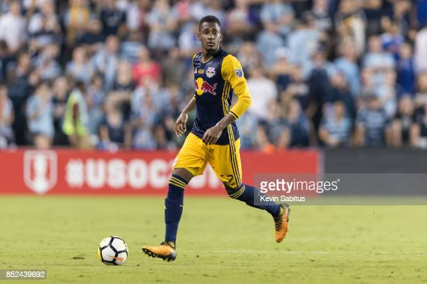 Michael Murillo of New York Red Bulls looks to pass in the US Open Cup Final match against Sporting Kansas City at Children's Mercy Park on September...