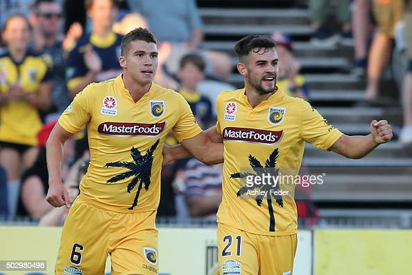 Michael Neill and Mitch Austin of the Mariners celebrate a goal during the round 13 ALeague match between the Central Coast Mariners and the...