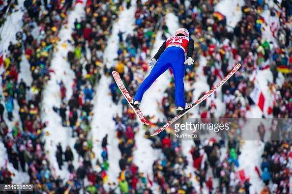 Michael Neumayer competes in front of home crowd during the Large Hill Individual competition on day two of the FIS Ski Jumping World Cup on February...