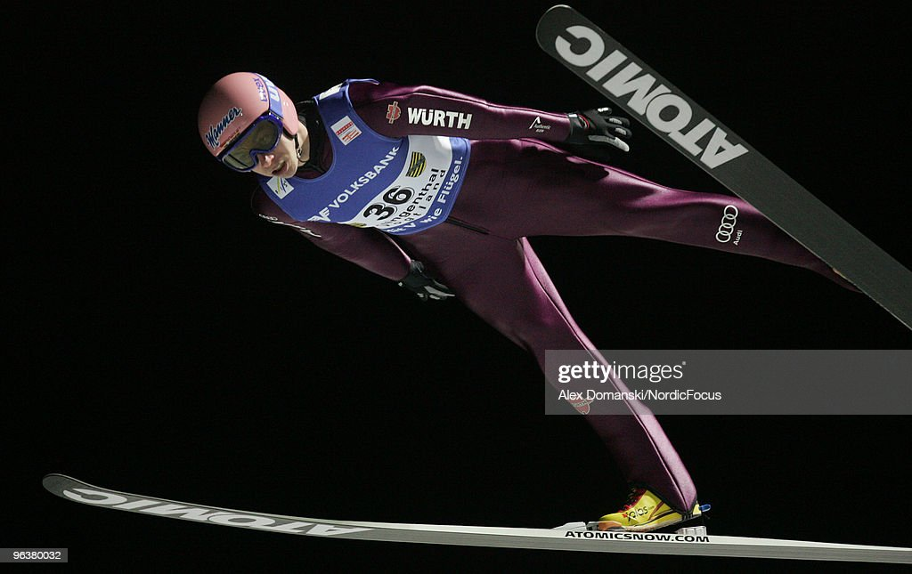 Michael Neumayer of Germany competes during the FIS Ski Jumping World Cup on February 3, 2010 in Klingenthal, Germany.
