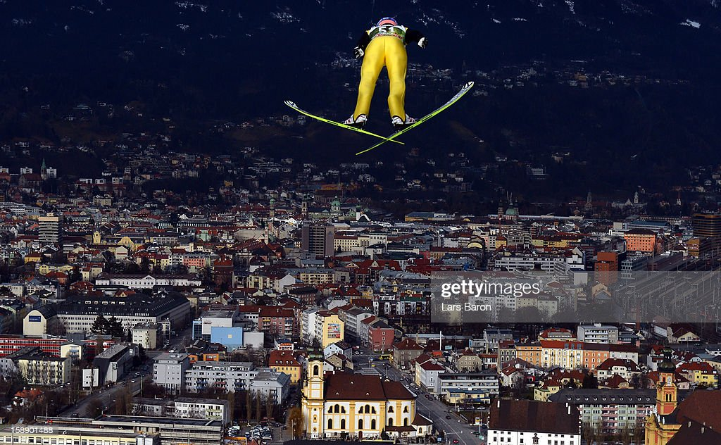 <a gi-track='captionPersonalityLinkClicked' href=/galleries/search?phrase=Michael+Neumayer&family=editorial&specificpeople=800790 ng-click='$event.stopPropagation()'>Michael Neumayer</a> of Germany competes during the training round for the FIS Ski Jumping World Cup event of the 61th Four Hills ski jumping tournament at Bergisel-Stadion on January 3, 2013 in Innsbruck, Austria.