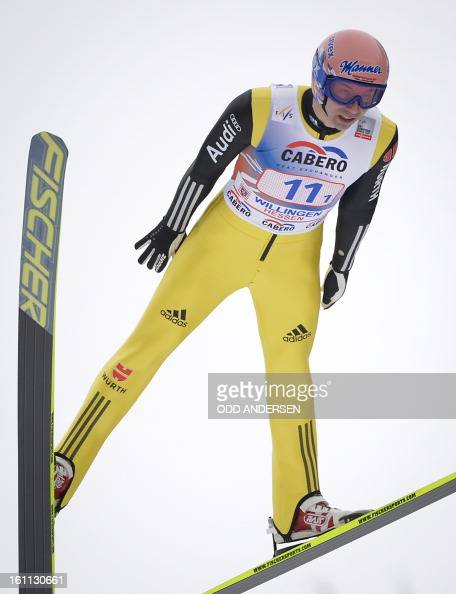 Michael Neumayer of Germany jumps during the FIS Ski Jumping World Cup team competition on the Muehlenkopfschanze hill in Willingen western Germany...