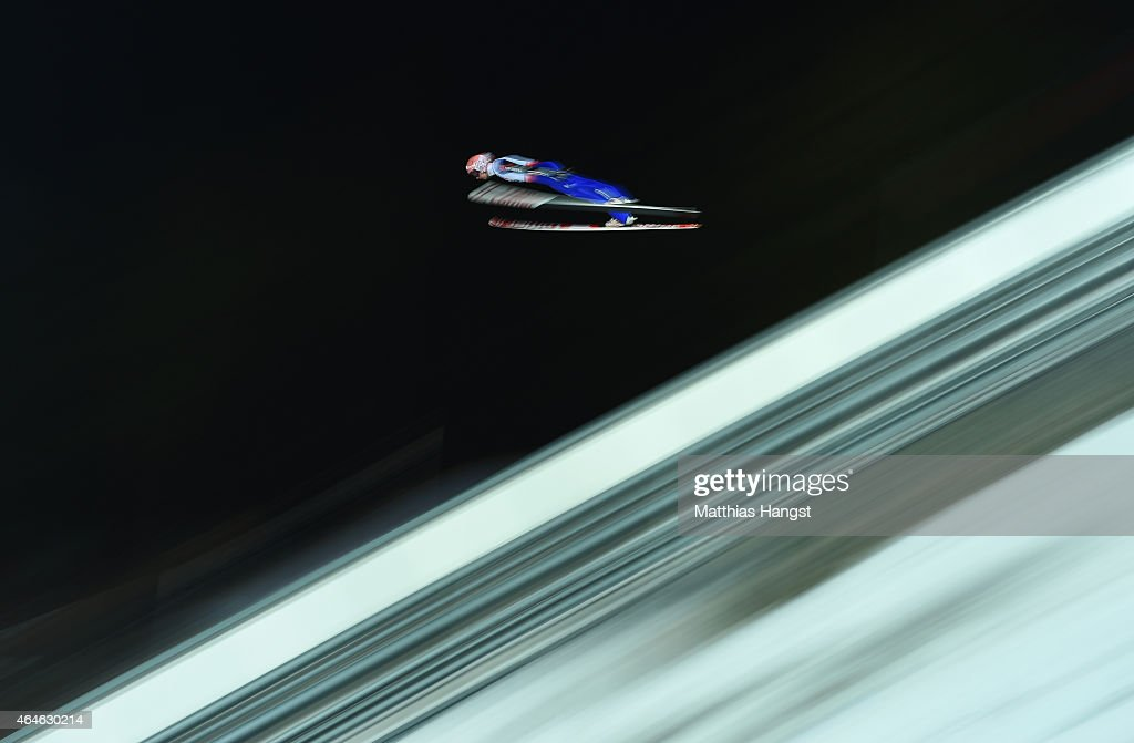 Michael Neumayer of Germany practices during the Men's Large Hill Team Ski Jumping training during the FIS Nordic World Ski Championships at the...