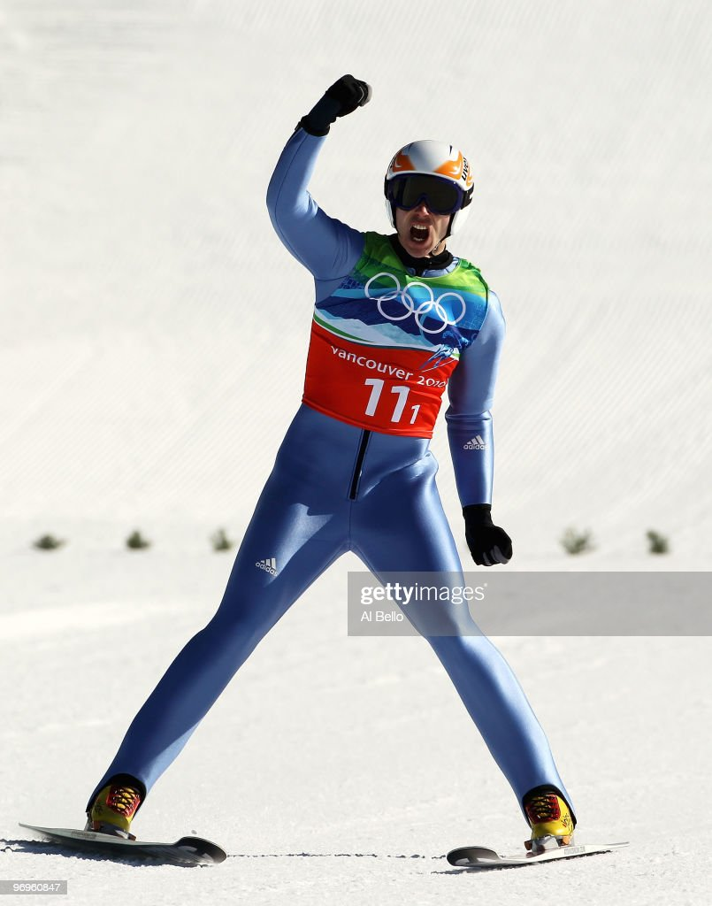 <a gi-track='captionPersonalityLinkClicked' href=/galleries/search?phrase=Michael+Neumayer&family=editorial&specificpeople=800790 ng-click='$event.stopPropagation()'>Michael Neumayer</a> of Germany reacts after his final jump in the men's ski jumping team event on day 11 of the 2010 Vancouver Winter Olympics at Whistler Olympic Park Ski Jumping Stadium on February 22, 2010 in Whistler, Canada.