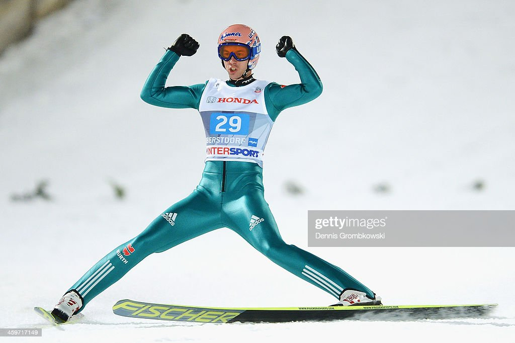 <a gi-track='captionPersonalityLinkClicked' href=/galleries/search?phrase=Michael+Neumayer&family=editorial&specificpeople=800790 ng-click='$event.stopPropagation()'>Michael Neumayer</a> of Germany reacts after the final round on day 2 of the Four Hills Tournament Ski Jumping event at Schattenberg-Schanze on December 29, 2013 in Oberstdorf, Germany.
