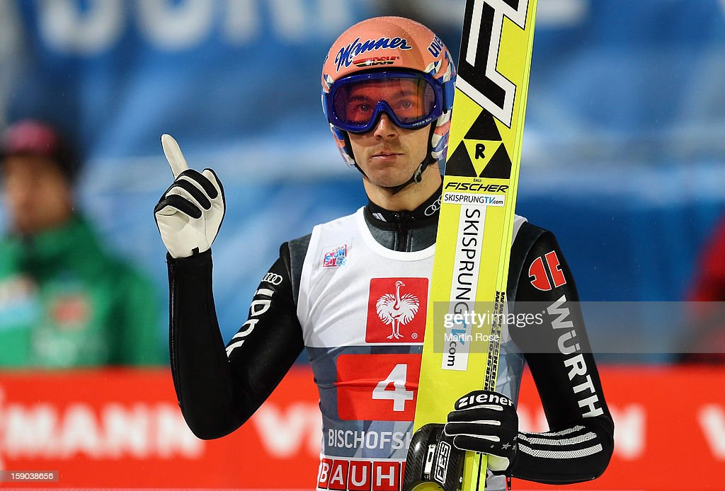 <a gi-track='captionPersonalityLinkClicked' href=/galleries/search?phrase=Michael+Neumayer&family=editorial&specificpeople=800790 ng-click='$event.stopPropagation()'>Michael Neumayer</a> of Germany reacts during the final round of the FIS Ski Jumping World Cup event at the 61st Four Hills ski jumping tournament at Paul-Ausserleitner-Schanzeon January 6, 2013 in Bischofshofen, Austria.