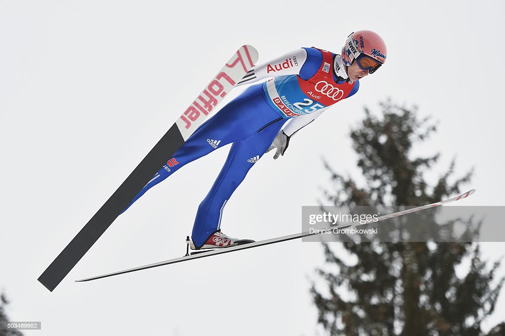 <a gi-track='captionPersonalityLinkClicked' href=/galleries/search?phrase=Michael+Neumayer&family=editorial&specificpeople=800790 ng-click='$event.stopPropagation()'>Michael Neumayer</a> of Germany soars through the air during his trial jump on Day 1 of the Bischofshofen 64th Four Hills Tournament ski jumping event on January 5, 2016 in Bischofshofen, Austria.