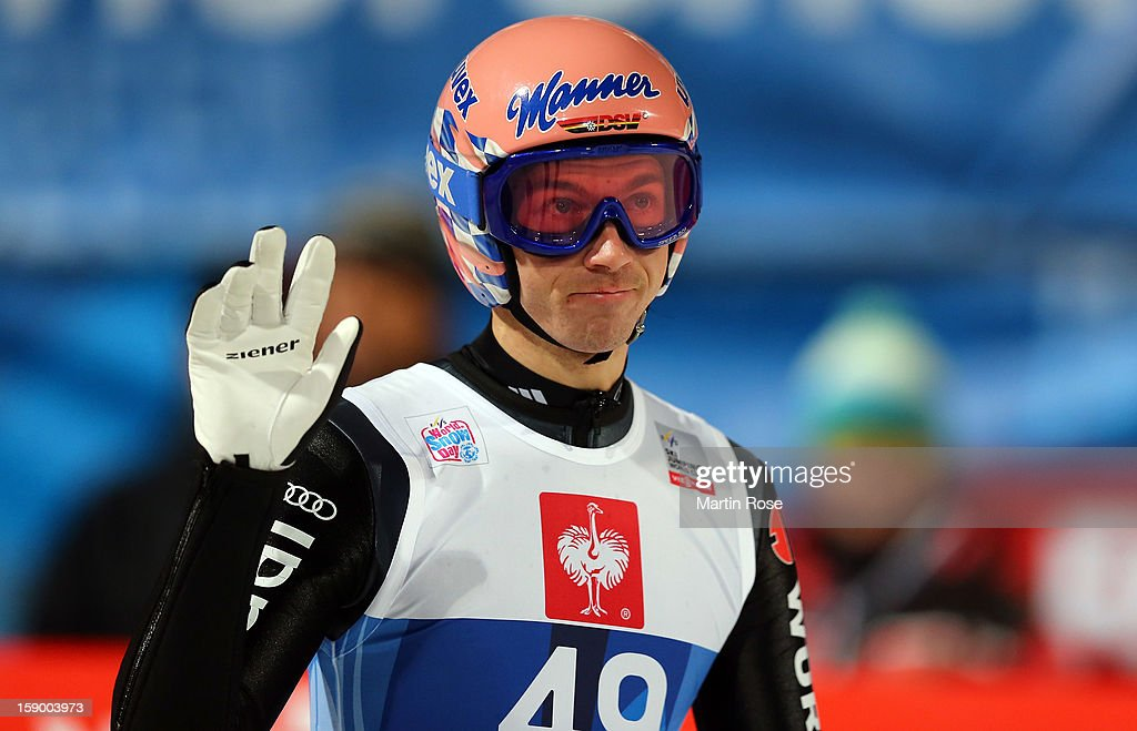 Michael Neumkayer of Germany reacts during the qualification round of the FIS Ski Jumping World Cup event at the 61st Four Hills ski jumping tournament at Paul-Ausserleitner-Schanze on January 5, 2013 in Bischofshofen, Austria.