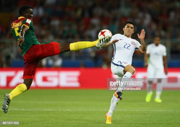 Michael NgadeuNgadjui of Cameroo and Edson Puch of Chile during the FIFA Confederations Cup Russia 2017 Group B match between Cameroon and Chile at...
