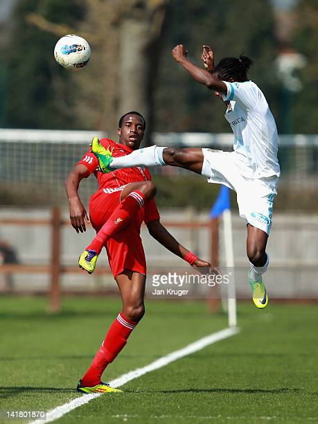 Michael Ngoo of Liverpool and Ricardo Charles of Marseille battle for the ball during the NextGen Series 3rd Place Play Off final match between...