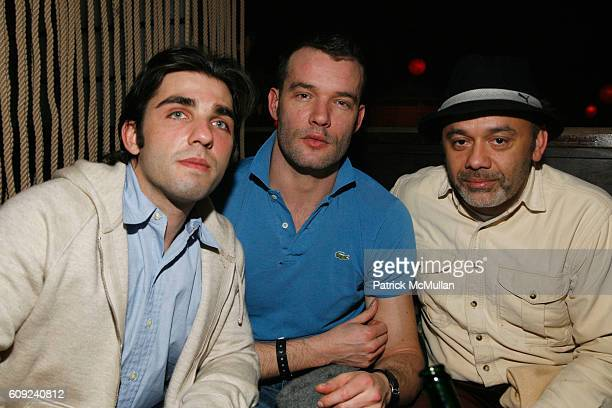 Michael Nitis Hugo Marchand and Christian Louboutin attend ROCK REPUBLIC After Party with Performance by Lady Sovereign at Hiro on February 3 2007 in...
