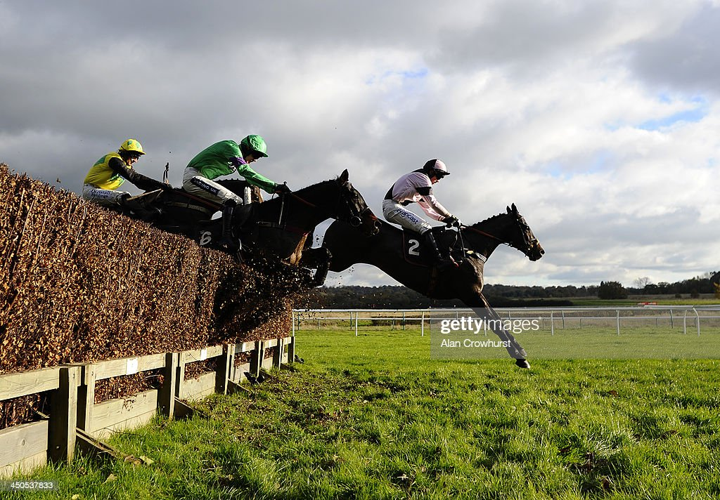Michael Nolan riding Royal Chatelier (R) on their way to winning The Great Point Media Investments Handicap Steeple Chase at Lingfield racecourse on November 19, 2013 in Lingfield, England.