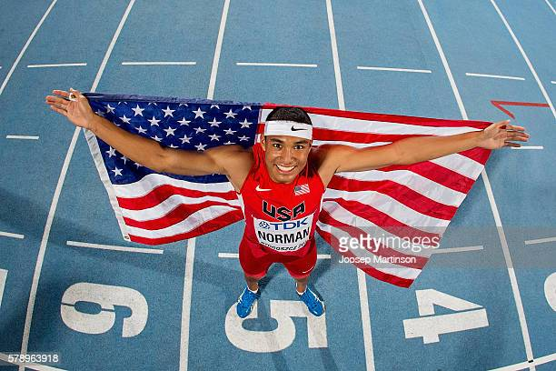 Michael Norman from USA celebrates winning a gold medal in men's 200 metres during the IAAF World U20 Championships at the Zawisza Stadium on July 22...