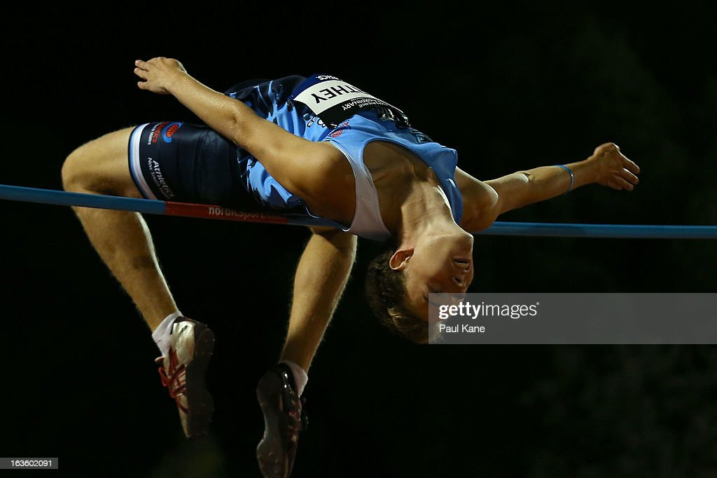 Michael Northey of New South Wales competes in the men's u18 high jump during day two of the Australian Junior Championships at the WA Athletics Stadium on March 13, 2013 in Perth, Australia.