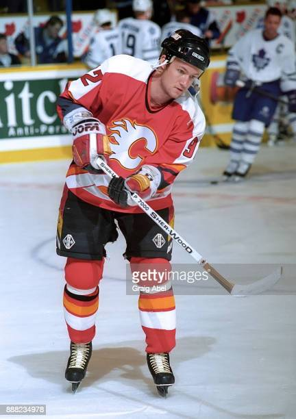 Michael Nylander of the Calgary Flames skates the Toronto Maple Leafs during NHL game action on March 9 1996 at Maple Leaf Gardens in Toronto Ontario...