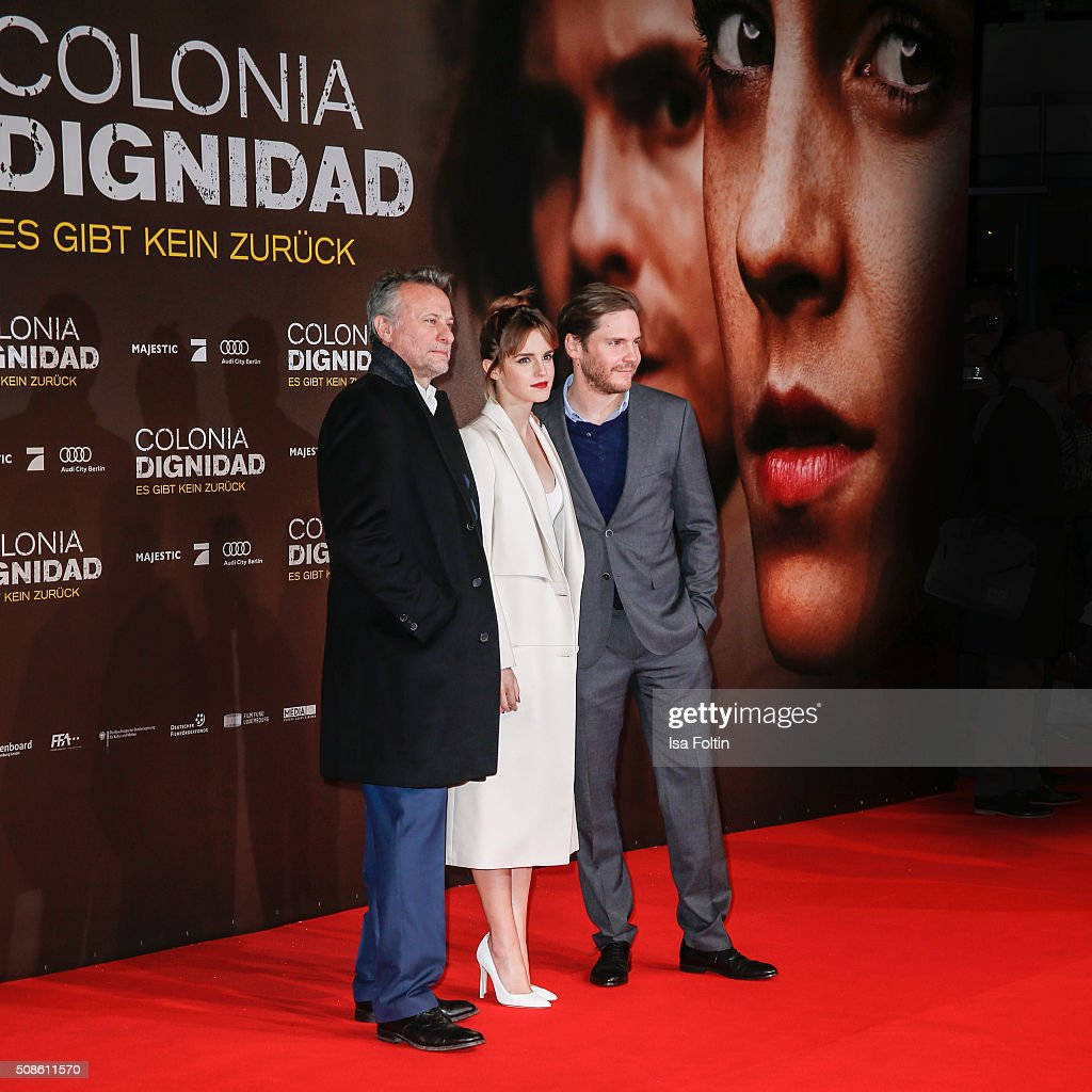 Michael Nyqvist, Emma Watson and Daniel Bruehl attend the 'Colonia Dignidad - Es gibt kein zurueck' Berlin Premiere on February 05, 2016 in Berlin, Germany.