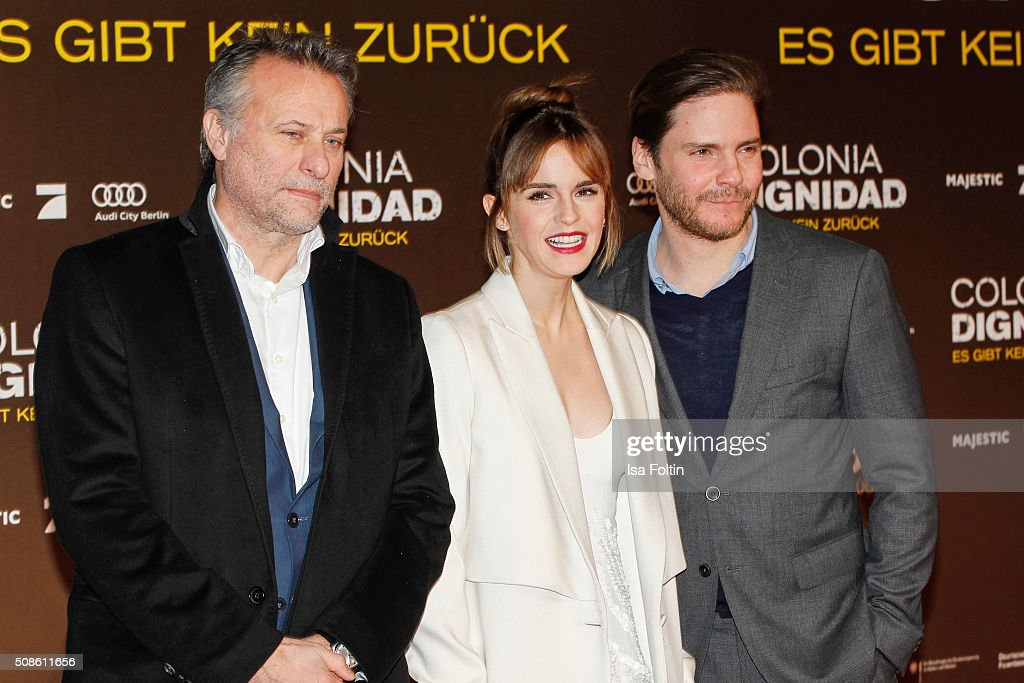 <a gi-track='captionPersonalityLinkClicked' href=/galleries/search?phrase=Michael+Nyqvist&family=editorial&specificpeople=5720812 ng-click='$event.stopPropagation()'>Michael Nyqvist</a>, <a gi-track='captionPersonalityLinkClicked' href=/galleries/search?phrase=Emma+Watson&family=editorial&specificpeople=171373 ng-click='$event.stopPropagation()'>Emma Watson</a> and <a gi-track='captionPersonalityLinkClicked' href=/galleries/search?phrase=Daniel+Bruehl&family=editorial&specificpeople=240493 ng-click='$event.stopPropagation()'>Daniel Bruehl</a> attend the 'Colonia Dignidad - Es gibt kein zurueck' Berlin Premiere on February 05, 2016 in Berlin, Germany.