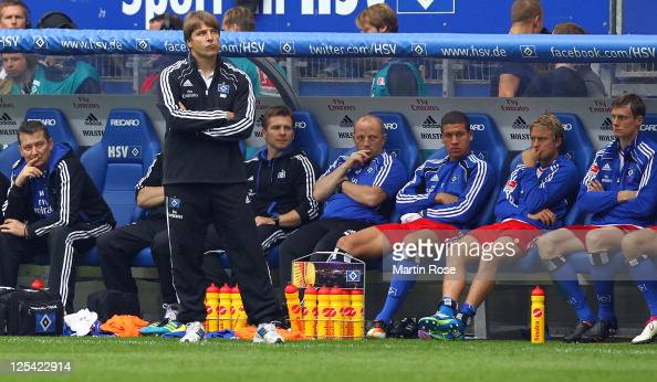 Michael Oenning head coach of Hamburg recats during the Bundesliga match between Hamburger SV and Borussia Moenchengladbach at Imtech Arena on...
