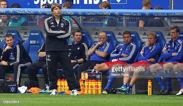 Michael Oenning head coach of Hamburg recats during the Bundesliga match between Hamburger SV and Borussia Moenchengladbach at Imtech Arena on...