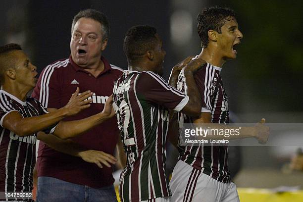 Michael of Fluminense celebrate a scored goal during the match between Fluminense and MacaeŽ as part of Carioca Championship 2013 at Sao Januario...