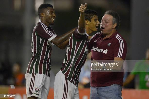 Michael of Fluminense celebrates a goal during the match between Fluminense and MacaeŽ as part of Carioca Championship 2013 at Sao Januario Stadium...