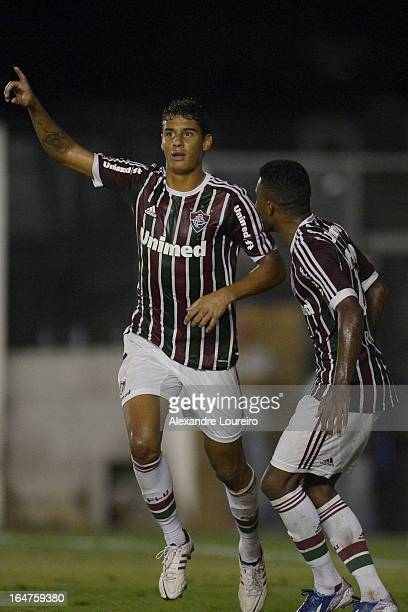 Michael of Fluminense celebrates a scored goal during the match between Fluminense and MacaeŽ as part of Carioca Championship 2013 at Sao Januario...