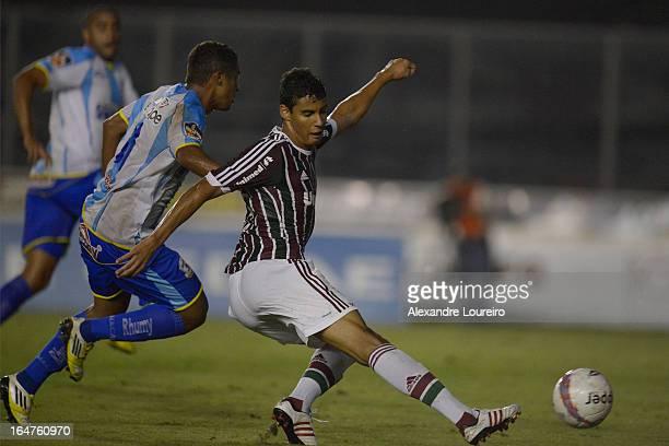 Michael of Fluminense scored goal during the match between Fluminense and MacaeŽ as part of Carioca Championship 2013 at Sao Januario Stadium on...