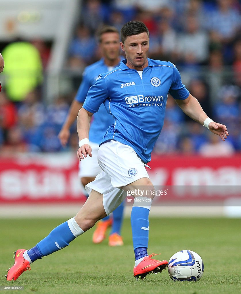 Michael O'Halloran of St Johnstone controls the ball during the UEFA Europa League Third Qualifying Round, First Leg match between St Johnstone and Spartak Trnava, at McDiarmid Park on July 31, 2014 Perth, Scotland.