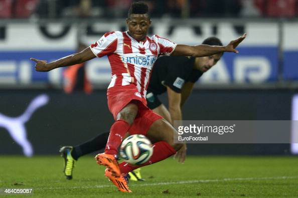 Michael Olaitan of Olympiacos dribbles with the ball during the Greek Superleague match between Olympiacos and Levadiakos at the Georgios Karaiskakis...