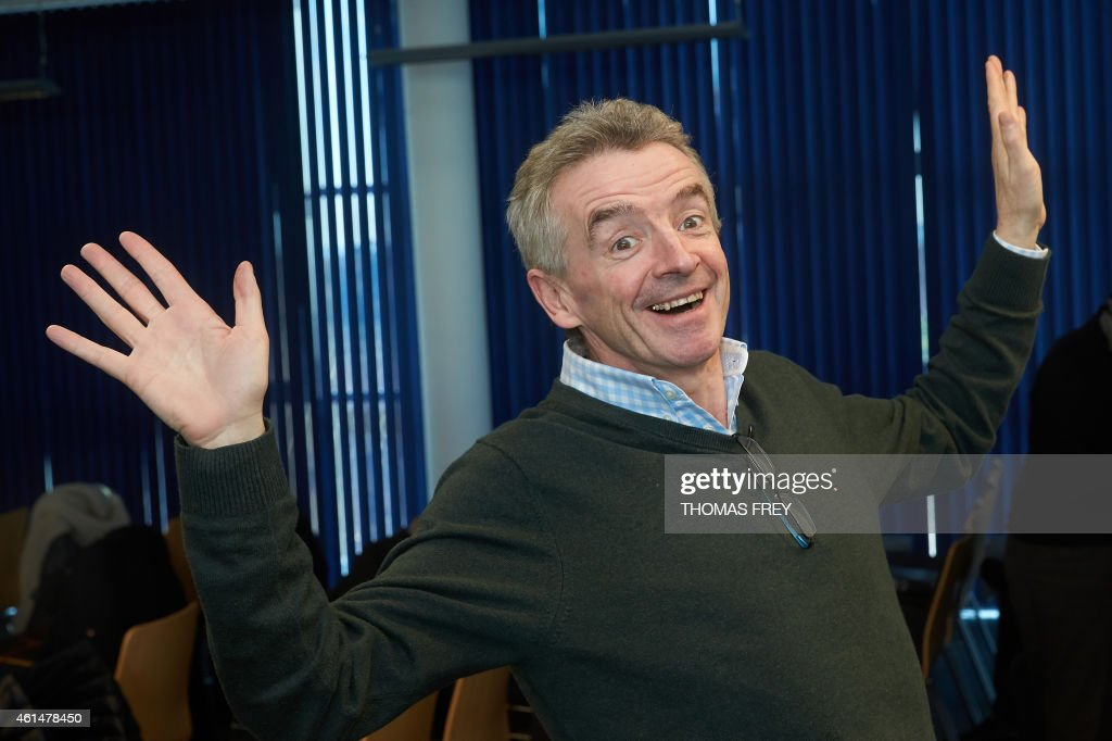 Michael O'Leary, CEO of Irish low-cost carrier Ryanair, gestures during a press conference on January 13, 2015 at the Hahn airport in Lautzenhausen, western Germany. AFP PHOTO / THOMAS FREY