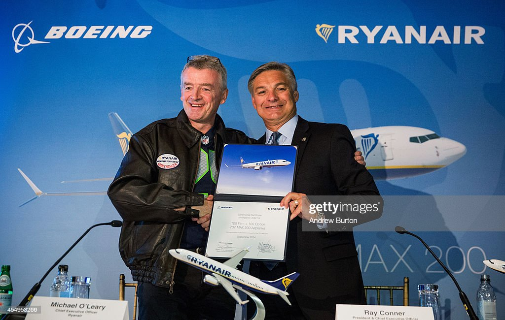 <a gi-track='captionPersonalityLinkClicked' href=/galleries/search?phrase=Michael+O%27Leary&family=editorial&specificpeople=5600252 ng-click='$event.stopPropagation()'>Michael O'Leary</a>, CEO of Ryanair (L) and <a gi-track='captionPersonalityLinkClicked' href=/galleries/search?phrase=Ray+Conner&family=editorial&specificpeople=7660065 ng-click='$event.stopPropagation()'>Ray Conner</a>, President and CEO of The Boeing Company, shake hands after signing a contract announcing the first sales of Boeing's new 737 Max 200 to RyanAir on September 8, 2014 in New York City. RyanAir will purchase at least 100 of the planes.