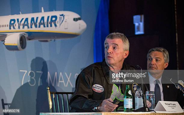 Michael O'Leary CEO of Ryanair and Ray Conner President and CEO of The Boeing Company hold a press conference announcing the first sales of Boeing's...