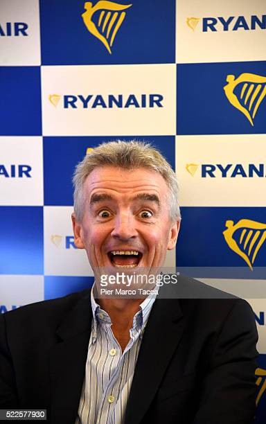 Michael O'Leary CEO of Ryanair attends the Ryanair press conference on April 20 2016 in Milan Italy Low cost airline Ryanair presented the data...