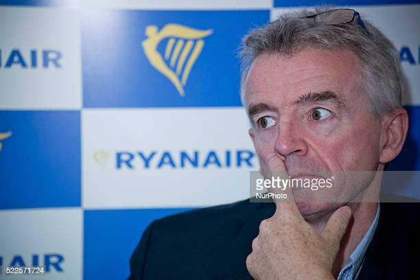 Michael O'Leary CEO of Ryanair takes part in a press conference at Park Hyatt hotel in Milan on April 20th 2016