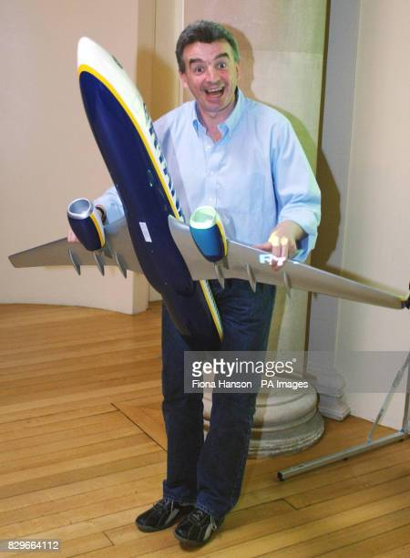 Michael O'Leary Chief Executive of Ryanair presents the low cost airline's year end financial figures and predicted that profits would rise with...