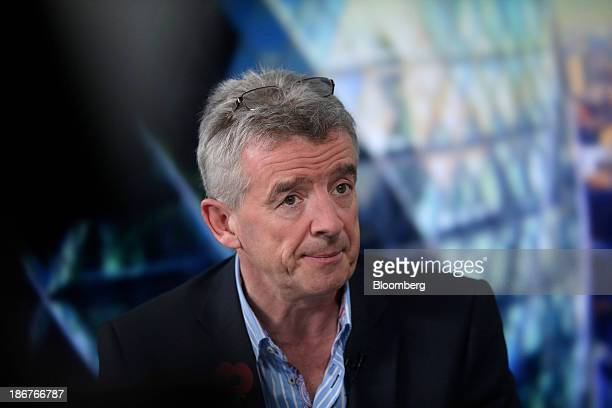 Michael O'Leary chief executive officer of Ryanair Holdings Plc pauses during a Bloomberg Television interview in London UK on Monday Nov 4 2013...