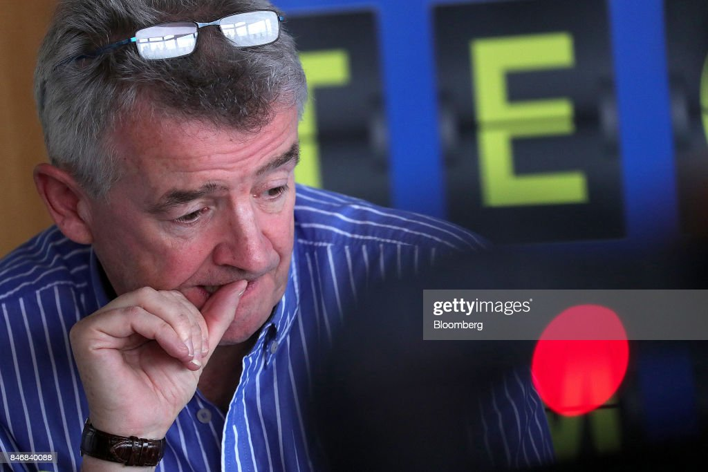 Michael O'Leary, chief executive officer of Ryanair Holdings Plc, pauses during a news conference at Tegel airport in Berlin, Germany, on Thursday, Sept. 14, 2017. Ryanair Holdings Plcshares fell more than 4.4 percent after the European Unions top court ruled the airline could face employee lawsuits wherever cabin crew are based, paving the way for a flurry of claims outside of Ireland and a possible increase in employment costs. Photographer: Krisztian Bocsi/Bloomberg via Getty Images