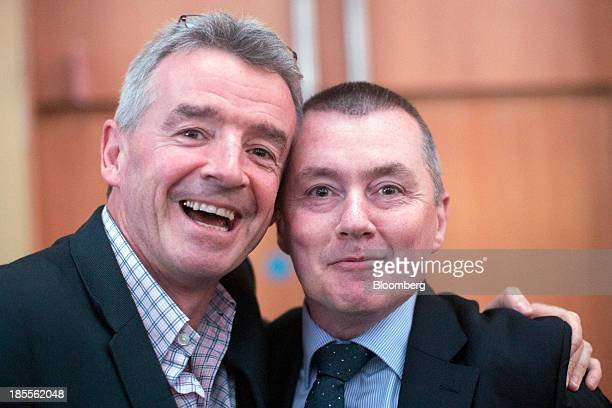Michael O'Leary chief executive officer of Ryanair Holdings Plc Europe's biggest discount carrier and Willie Walsh chief executive officer of...