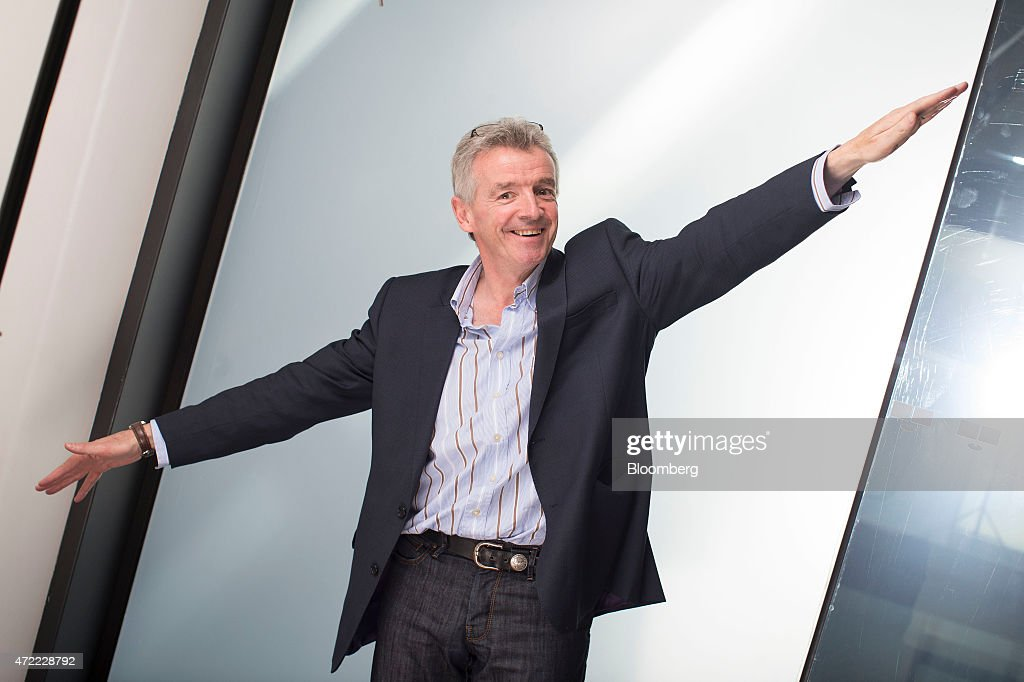 <a gi-track='captionPersonalityLinkClicked' href=/galleries/search?phrase=Michael+O%27Leary&family=editorial&specificpeople=5600252 ng-click='$event.stopPropagation()'>Michael O'Leary</a>, chief executive officer of Ryanair Holdings Plc, poses for a photograph following a Bloomberg Television interview in London, U.K., on Tuesday, May 5, 2015. The CEO said Ryanair has yet to be approached by British Airways parent IAG SA about buying its 30 percent holding in Aer Lingus Group Plc. Photographer: Matthew Lloyd/Bloomberg via Getty Images