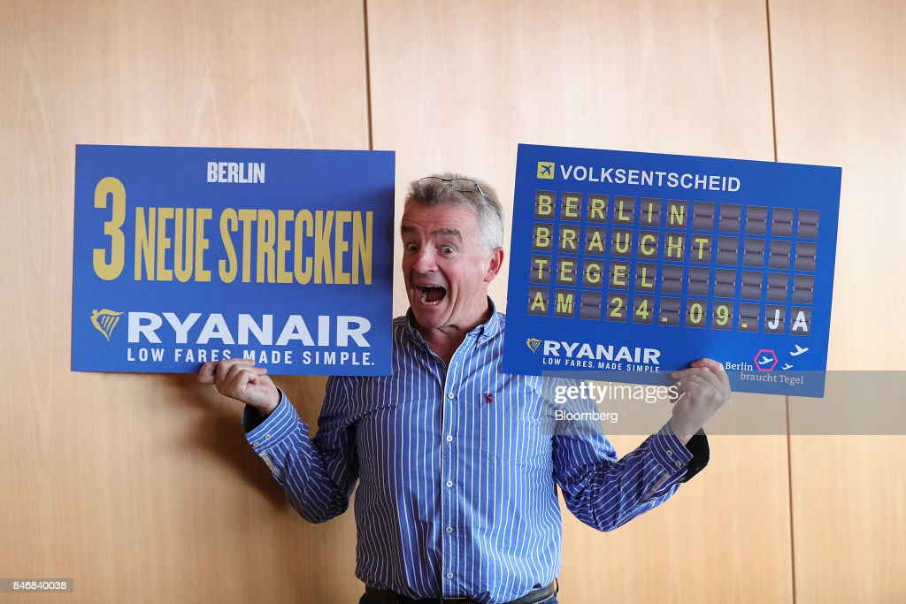 Michael O'Leary, chief executive officer of Ryanair Holdings Plc, poses for photographers ahead of a news conference at Tegel airport in Berlin, Germany, on Thursday, Sept. 14, 2017. Ryanair Holdings Plcshares fell more than 4.4 percent after the European Unions top court ruled the airline could face employee lawsuits wherever cabin crew are based, paving the way for a flurry of claims outside of Ireland and a possible increase in employment costs. Photographer: Krisztian Bocsi/Bloomberg via Getty Images