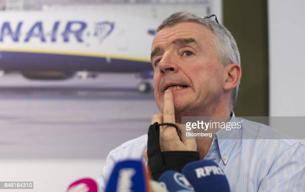 Michael O'Leary chief executive officer of Ryanair Holdings Plc reacts while speaking during a news conference at the Squaire commercial and retail...