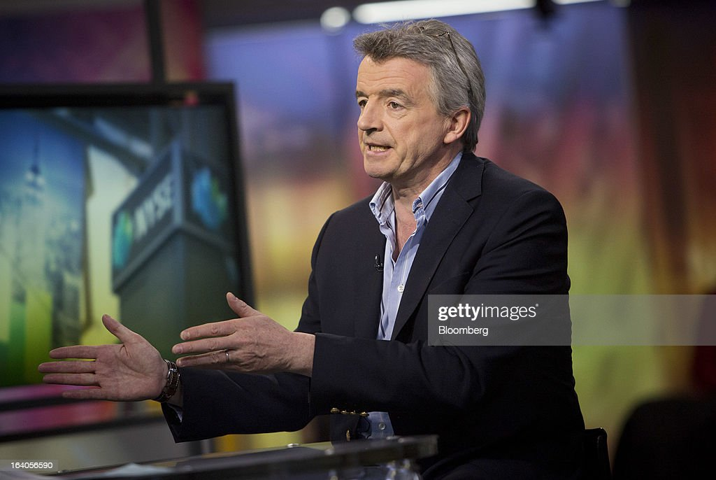 Michael O'Leary, chief executive officer of Ryanair Holdings Plc, speaks during an interview in New York, U.S., on Tuesday, March 19, 2013. O'Leary discussed the low-cost carrier's agreement to buy 175 Boeing Co. 737 jets worth $15.6 billion at list price to add discount flights in markets vacated by full-service rivals. Photographer: Scott Eells/Bloomberg via Getty Images
