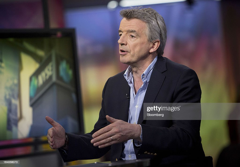 <a gi-track='captionPersonalityLinkClicked' href=/galleries/search?phrase=Michael+O%27Leary&family=editorial&specificpeople=5600252 ng-click='$event.stopPropagation()'>Michael O'Leary</a>, chief executive officer of Ryanair Holdings Plc, speaks during an interview in New York, U.S., on Tuesday, March 19, 2013. O'Leary discussed the low-cost carrier's agreement to buy 175 Boeing Co. 737 jets worth $15.6 billion at list price to add discount flights in markets vacated by full-service rivals. Photographer: Scott Eells/Bloomberg via Getty Images